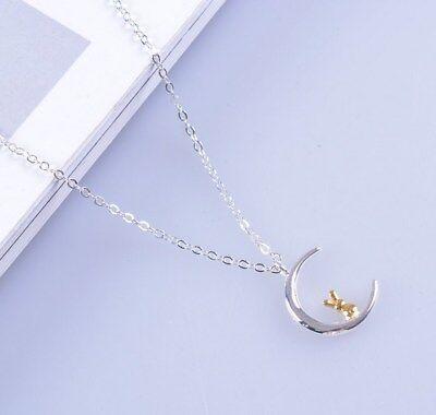 "Sterling silver Moon Rabbit Bunny Love pendant necklace 18"" Chain Gift box AJ"