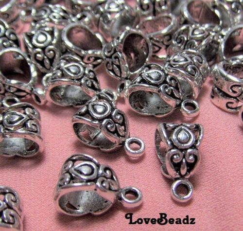 15 Silver Ornate Bails-Hangers-Necklace Bails-$30 ORDERS SHIP FOR FREE