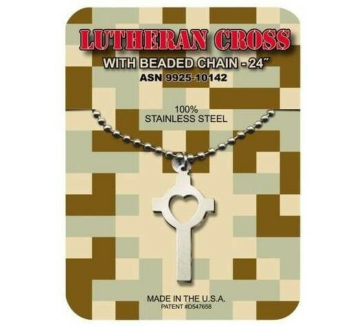 GI JEWELRY, U.S. Military, LUTHERAN CROSS, Necklace Pendant With Beaded Chain