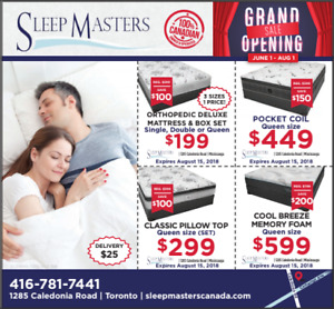 GRAND OPENING MATTRESS SALE SLEEP MASTERS CANADA 30% - 50% OFF!