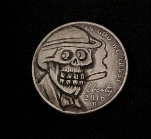 CHEESY CHUCKSTER Skull Hand Carved Original Hobo Nickel By Aaron Lujan