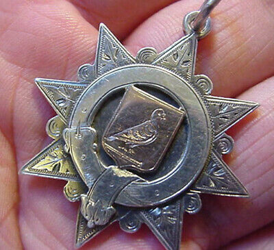 1897 Pigeon Velocity - Solid Silver Gold Fob Medal - Victorian Hallmarks