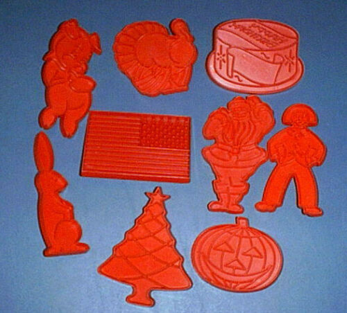 (9) TUPPERWARE Cookie Cutters EASTER BUNNY RABBIT, PIG, BIRTHDAY CAKE, USA FLAG