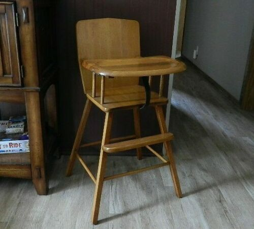 Vintage 1980s Wood High Chair Wooden Toddler Baby Booster Chair Nice!