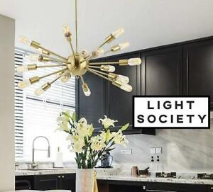 NEW LIGHT SOCIETY CHANDELIER LIGHT LS-C115-BRS 255962194 Sputnik 18-Light Chandelier Pendant, Brushed Bronze DINING L...