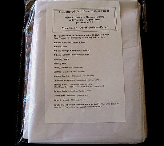 20pk JUMBO 24x36 UNBuffered ACID FREE Tissue Paper Archival Storage