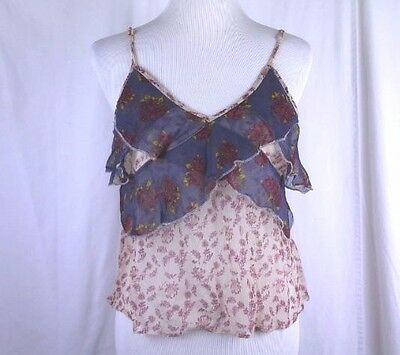 Free People Gauze Cami Top Shirt NWT Purple Floral Multi-Color Size S OB496272