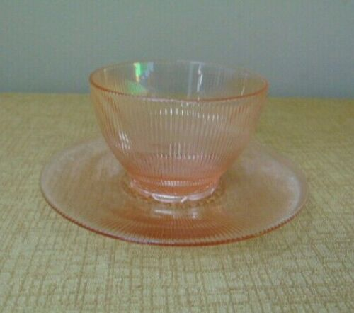 vtg Pink Homespun Fine Rib Depression Glass Sherbet Jeannette saucer cup bowl