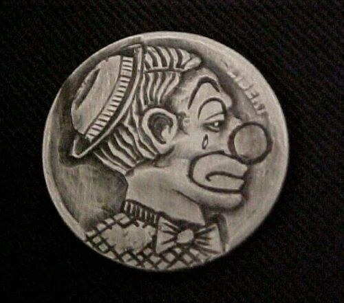 THE TEARS OF A CLOWN Hand Carved Original Hobo Nickel Aaron Lujan free ship