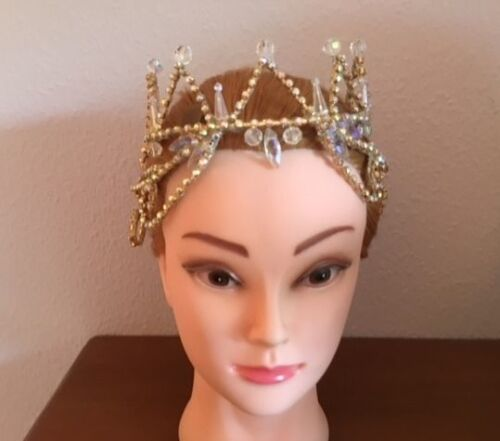 Professional Sleeping Beauty Gold AB Crystal Ballet Tiara Headpiece Crown YAGP