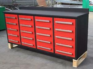 NEW 10FT HEAVY DUTY STEEL WORK BENCHES WITH TOOL AND GARAGE STORAGE