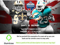 NFL Tickets - New Orleans Saints vs Miami Dolphins -- Read the ad description before replying!!