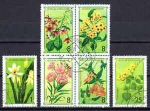 """Flore - Fleurs St Thomas et prince (102) série complète de 6 timbres oblitérés - France - Commentaires du vendeur : """"série complte"""" - France"""