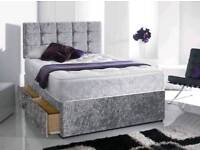 Delivery Today Crushed Velvet Double Bed & Memoryfoam Mattress Diamante Headboard