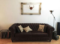 FULL GRAIN ITALIAN LEATHER TUFTED CHESTERFIELD COUCH
