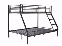 Triple metal bunkbed for quick sale- silver colour
