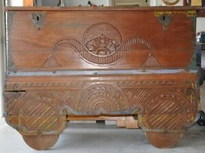 Antique Asian timber teak chest on wheels