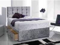 BRANDNEW Luxury Crushed Velvet Single Double Bed Memoryfoam Mattress Headboard Fast Delivery