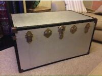 Large Overpond Style Silver Travel Trunk Storage Chest