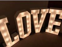 Large led love letters for sale great for wedding planners / weddings / special occasions 4Ft high