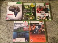 5 X Xbox 360 games Farcry 3, The Evil Within, The Orange Box, FIFA 2012, Command and Conguer