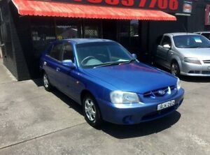 2001 Hyundai Accent LC GL Blue 5 Speed Manual Sedan Cardiff Lake Macquarie Area Preview