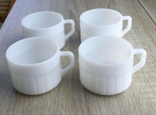 Vintage Federal Milk Glass Stackable Coffee Mugs White Heat Proof USA Set of 4