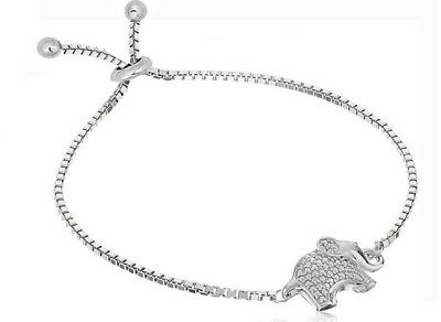 - Cubic Zirconia Elephant Adjustable Bolo Bracelet in Sterling Silver - 9