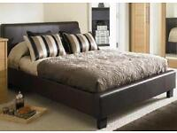 **EXCLUSIVE DEAL**DOUBLE LEATHER BED AND LUXURY MEMORY FOAM MATTRESS - BRAND NEW - EXPRESS DELIVERY