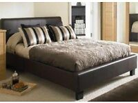 DOUBLE LEATHER BED WITH LUXURY MEMORRYFOAM MATTRESS / SAME DAY /NEXT DAY DELIVERY