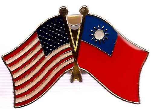 LOT OF 12 Taiwan Friendship Flag Lapel Pins - Taiwan Crossed Flag Pin