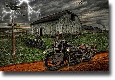 HARLEY DAVIDSON WLA MOTORCYCLE/ P51 MUSTANG WORLD WAR 2 ART PRINT