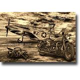 HARLEY DAVIDSON WLA P51 MUSTANG TOMMY GUN WORLD WAR 2 ART PRINT