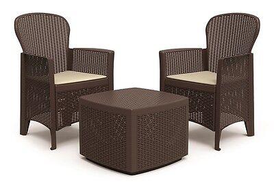 Lounge Set Gartenmöbel Tree Garnitur Alu Balkon Polyrattan Optik Braun  Gruppe