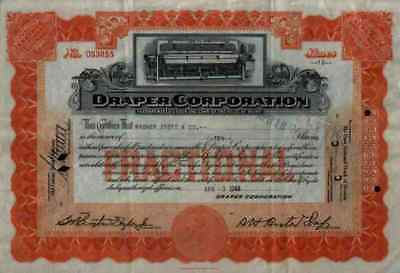 DRAPER Corporation 1944 Hopedale Massachusettes Maine orange Historische Aktien