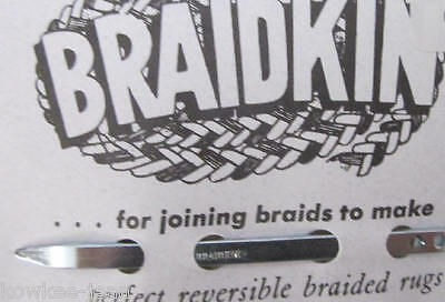 "Braidkin lacing needle: rug braider lacer, braided rugs  3.25"" long w/curved end"
