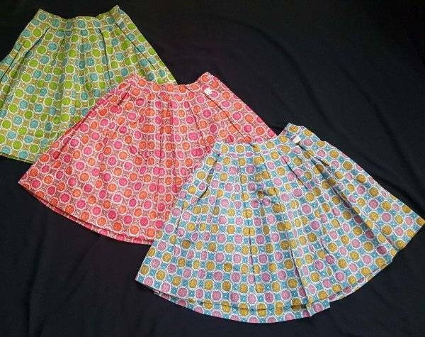 3 Vtg 1950s MODEL TOGS Colorful Cotton Full Skirt Pink Red Green NOS GIRLS 7