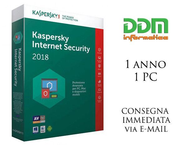 Kaspersky Internet Security 2017 / 2018 Licenza 1 anno 1 pc spedizione immediata