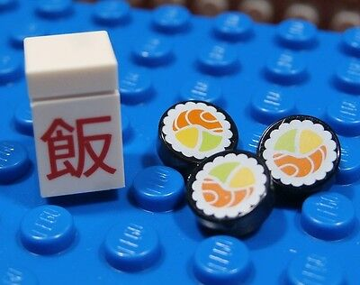 LEGO CHINESE TAKE OUT SUSHI SET ~ White Brick Red Characters & Round 1x1 Tiles