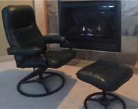 Green leather recliner and foot stool