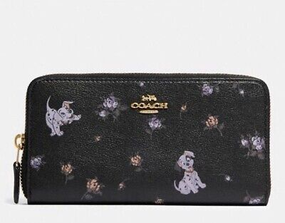 NWT Disney X Coach Accordion Zip Wallet With Dalmatian Floral Print