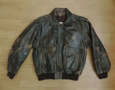 Men's Vintage Leather Bomber Jacket Fligth Aviation R10-21