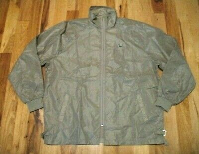 Vintage The Lacoste Club Full Zip Sandy Gray Windbreaker Jacket Mens Size XL EUC