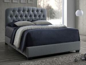 Tilda grey queen upholstered bed frame, $100 off, in stock, NEW