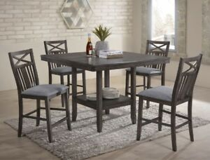 Meghan counter pedestal table with 4 solid hardwood chairs, NEW