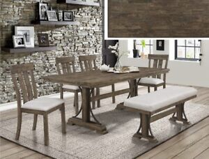 Quintas SOLID HARDWOOD dining set, icludes table,4 chairs, bench