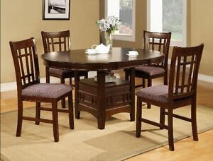 "5 Piece Dining Table with 18"" Leaf & Chairs"