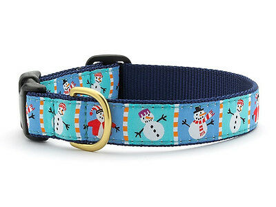 UP COUNTRY SNOWMAN DOG COLLAR NYLON/RIBBON CHRISTMAS WINTER USA MADE