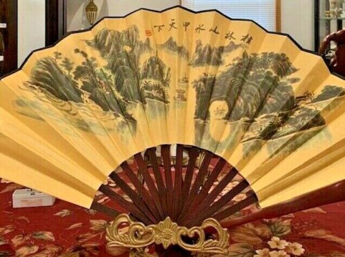 """Vintage Asian Hand Painted  Fan  Signed by Artist 23"""" x 13"""" (open)"""