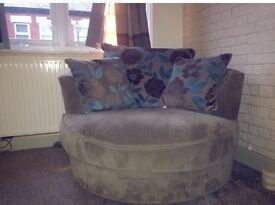 Grey and blue cuddle chair